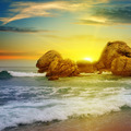 sea ??landscape with rocky island and the sunrise - PhotoDune Item for Sale