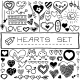 Hand Drawn Set of Hearts and Arrows - GraphicRiver Item for Sale