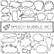 Hand Drawn Speech Bubbles with Hearts and Clouds - GraphicRiver Item for Sale