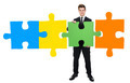 Confident Businessman Solving Jigsaw Puzzle - PhotoDune Item for Sale