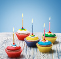 Birthday cupcakes with burning candles - PhotoDune Item for Sale