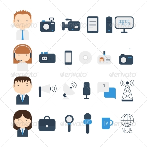 GraphicRiver Set of Flat Colorful Vector Journalism Icons 8755833