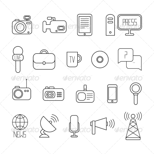 GraphicRiver Set of Vector Journalism Icons 8755844