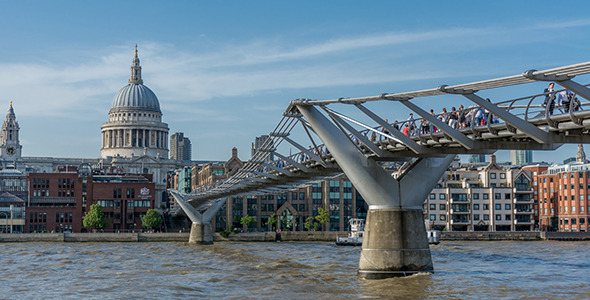 London St Pauls Dome and the Millennium Bridge
