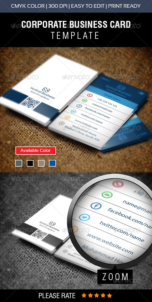 GraphicRiver Vertical Phone Business Card 8731790
