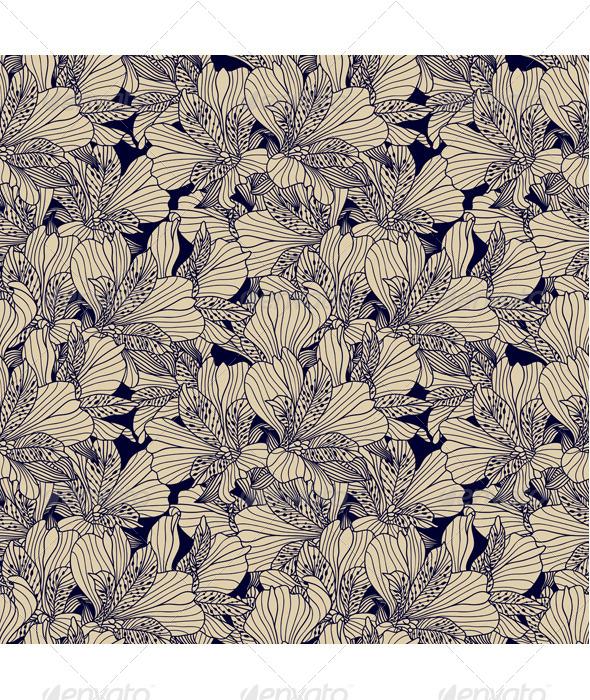 GraphicRiver Seamless Dark Ink Alstroemeria Pattern 8684922