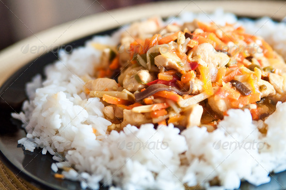 Stock Photo - PhotoDune Chinese food chicken with vegetables and rice 890919