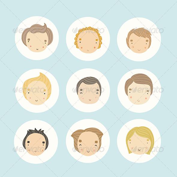 GraphicRiver Set of 9 boys 8756578