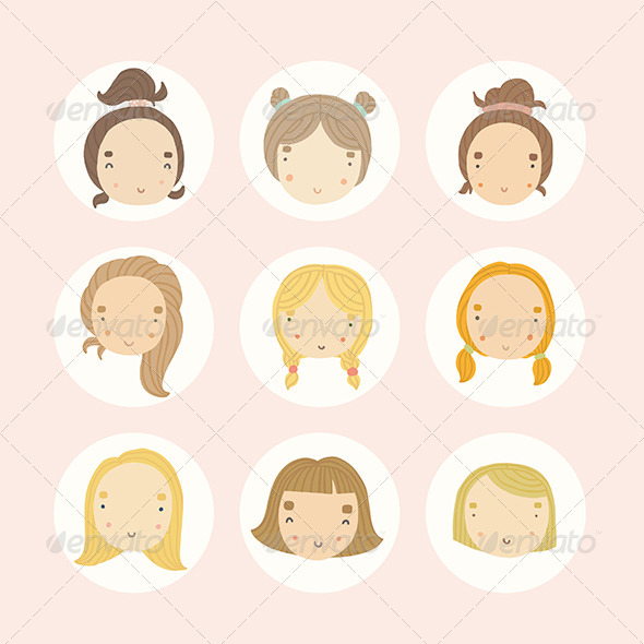 GraphicRiver Set of 9 girls 8756583