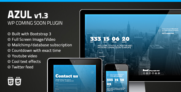 Azul - Responsive WordPress Coming Soon Plugin - CodeCanyon Item for Sale