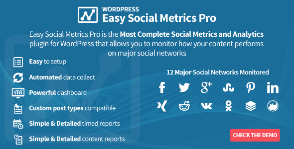 CodeCanyon Easy Social Metrics Pro for WordPress 8757292