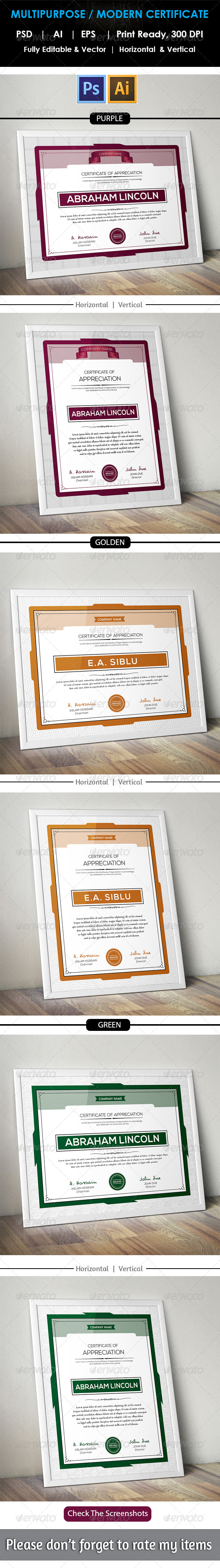 GraphicRiver Clean Multipurpose Certificate GD13 8757420