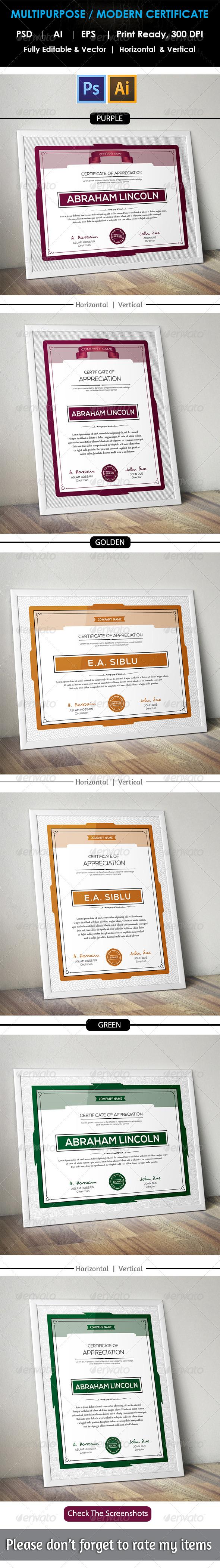 GraphicRiver Clean Multipurpose Certificate GD13 8757420