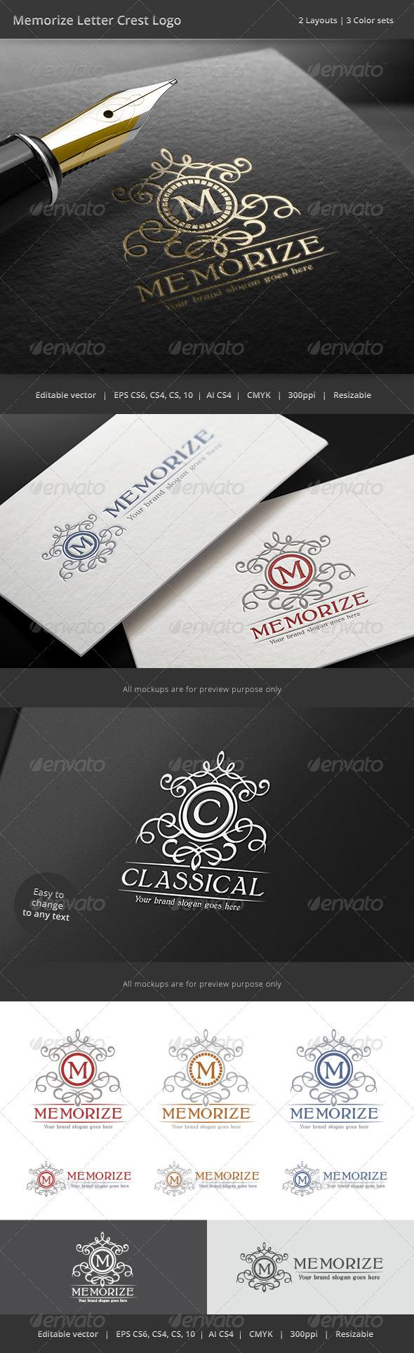 GraphicRiver Memorize Letter Crest Logo 8757486