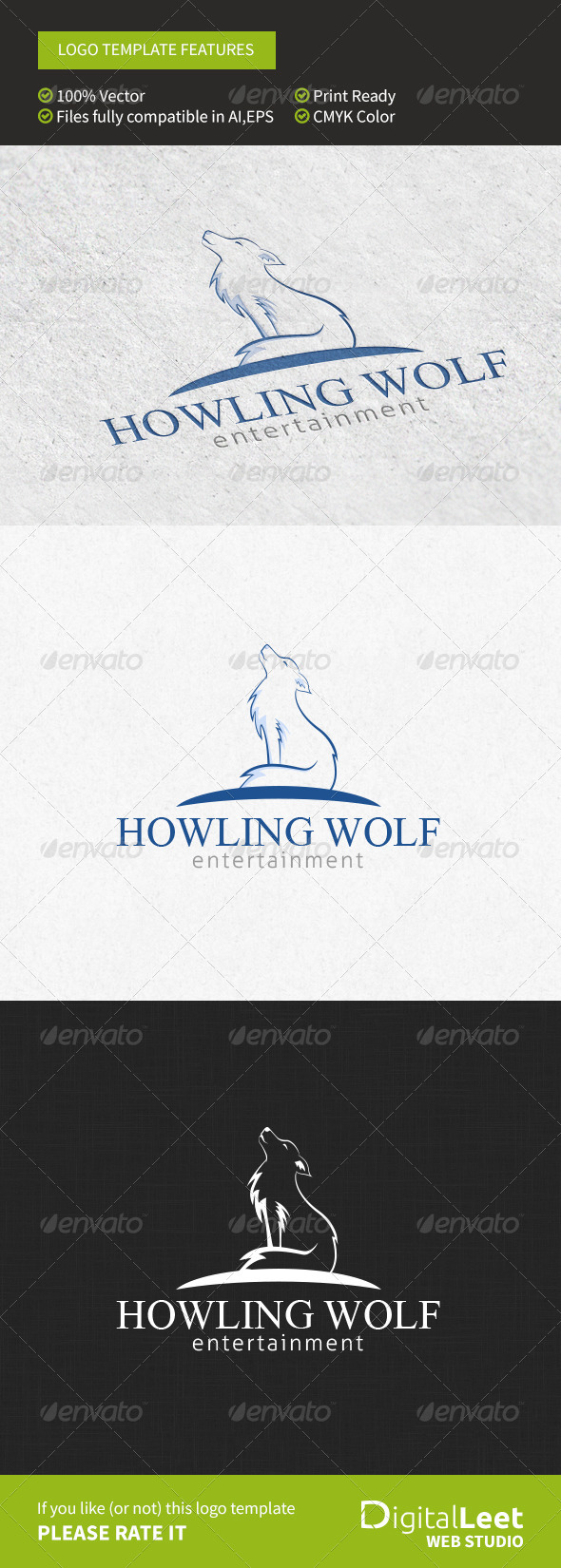 GraphicRiver Howling Wolf Entertainment Logo Template 8757970
