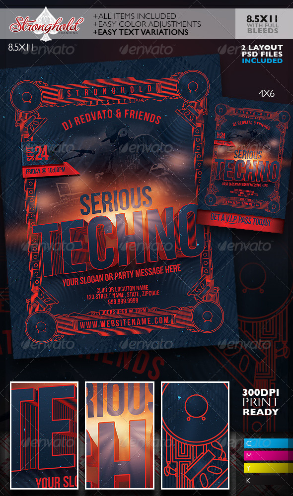 GraphicRiver Serious Techno Nightclub Event Flyer Template 8758075