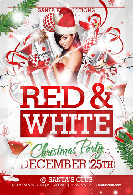 red and white christmas party flyer templates by creativb