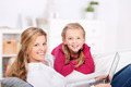 Mother And Daughter With Laptop At Home - PhotoDune Item for Sale