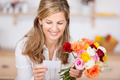 Woman With Flowers And Card - PhotoDune Item for Sale