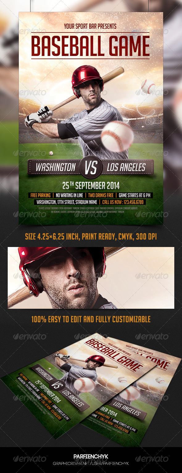 GraphicRiver Baseball Game Flyer Template 8758692