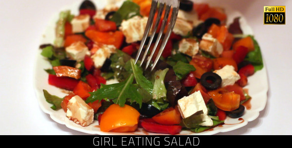 Girl Eating Salad 3