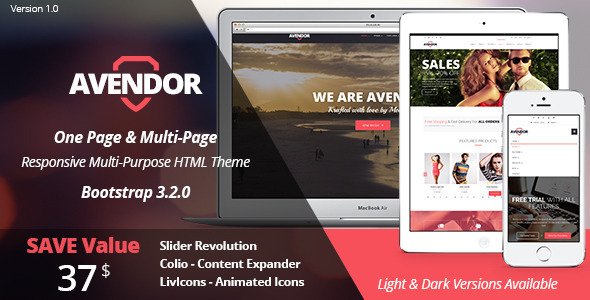ThemeForest AVENDOR One Page Multi Page Multipurpose 8750573
