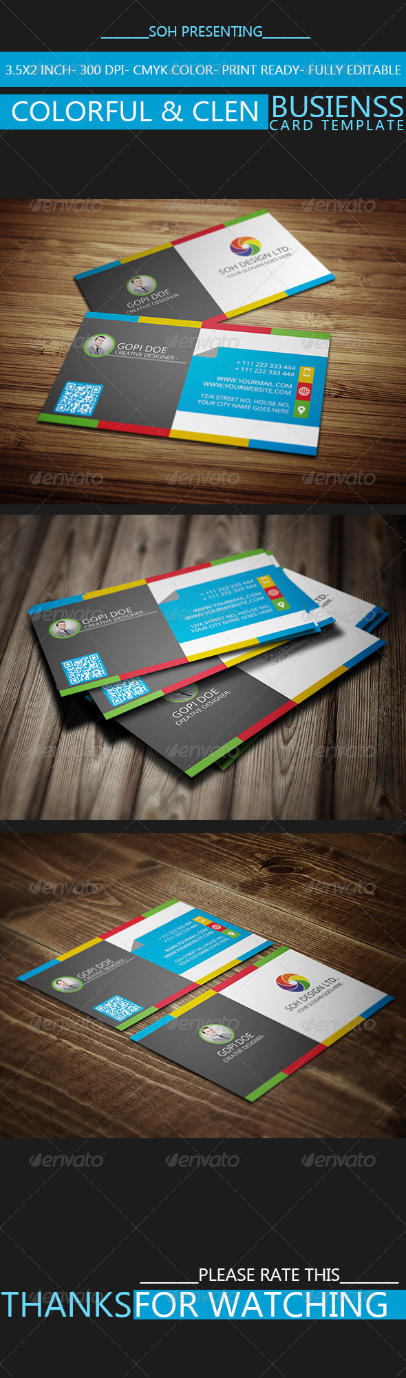 GraphicRiver Colorful & Clen Business Card Template 8759782