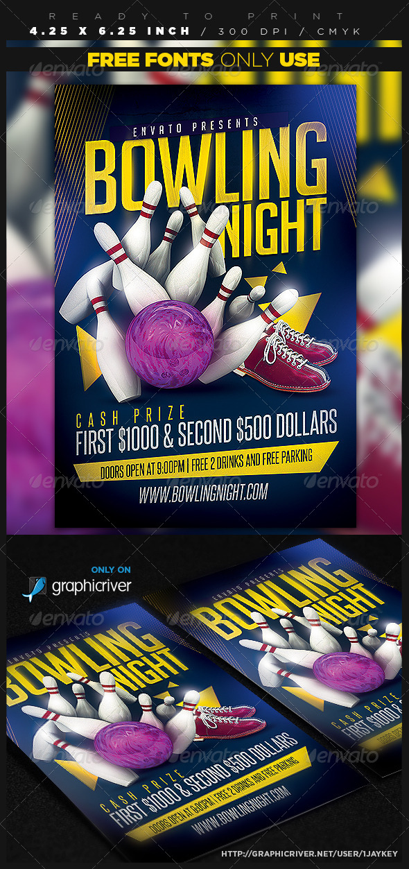 GraphicRiver Bowling Party Flyer Template 8759875