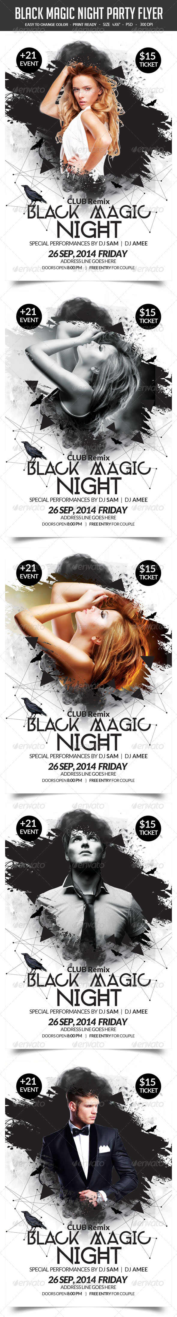GraphicRiver Black Magic Night Party Flyer 8759886