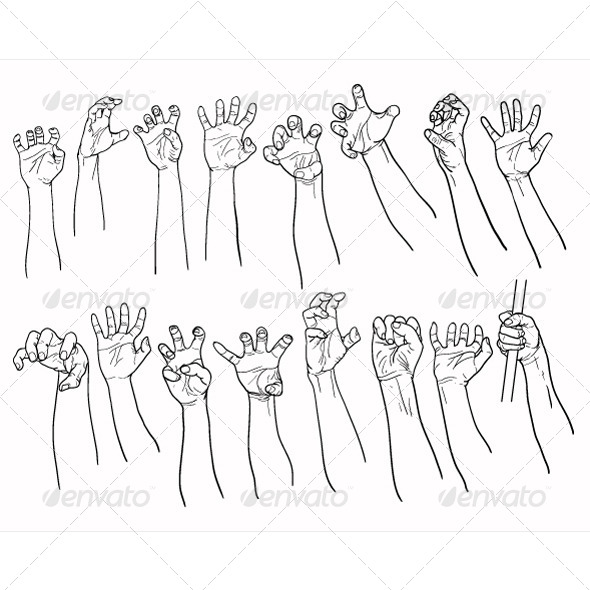 GraphicRiver Set of Hands in many Gestures 8760155