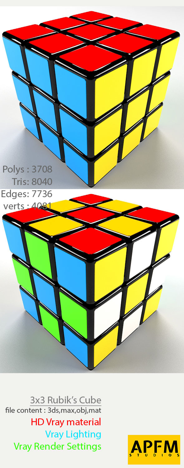 3DOcean 3D High Quality 3x3 Rubik s Cube Model 8760410