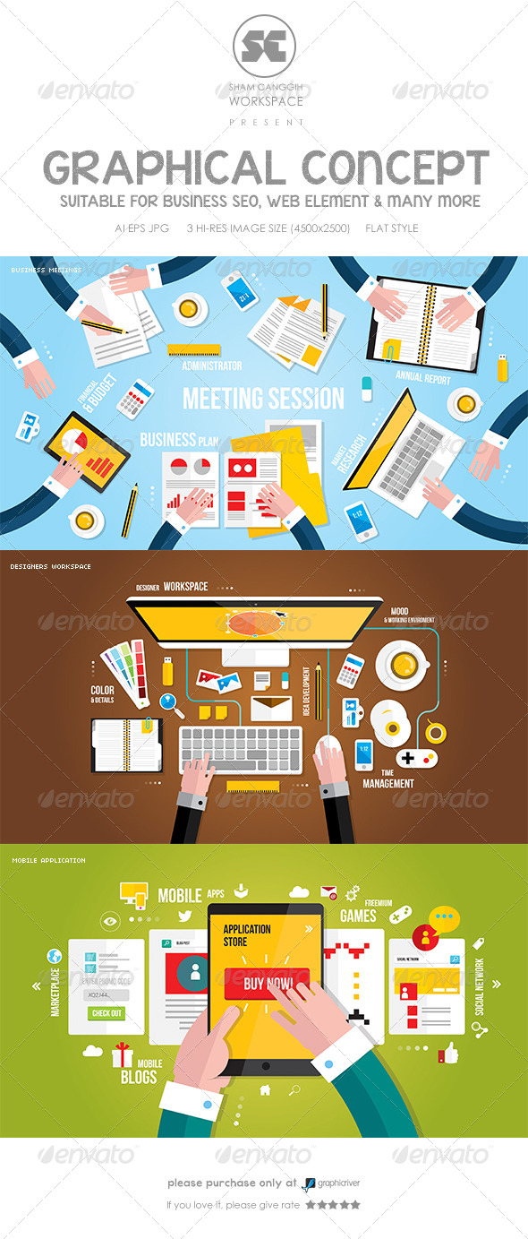 GraphicRiver Flat Concept for Meetings Workspace & Mobile Apps 8761000