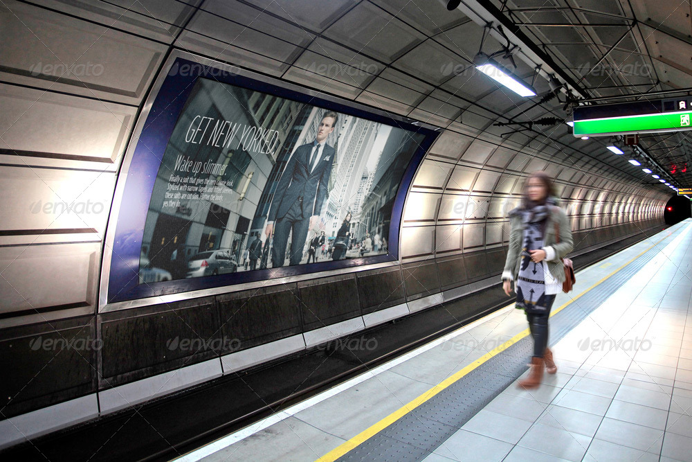 Billboard Underground Metro Subway Mock Up By Grafas