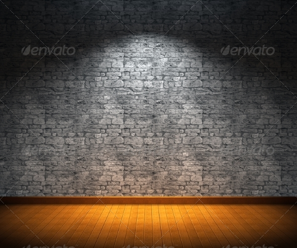 GraphicRiver Interior Room with Stone Wall and Wooden Floor 8761342