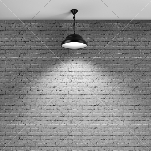 GraphicRiver Brick Wall and Ceiling Lamp 8761939