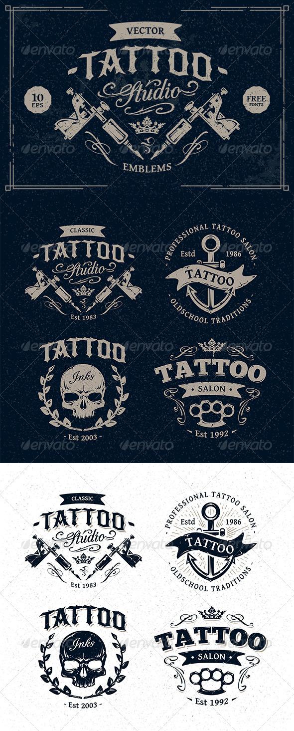GraphicRiver Tattoo Studio Emblems 8762465