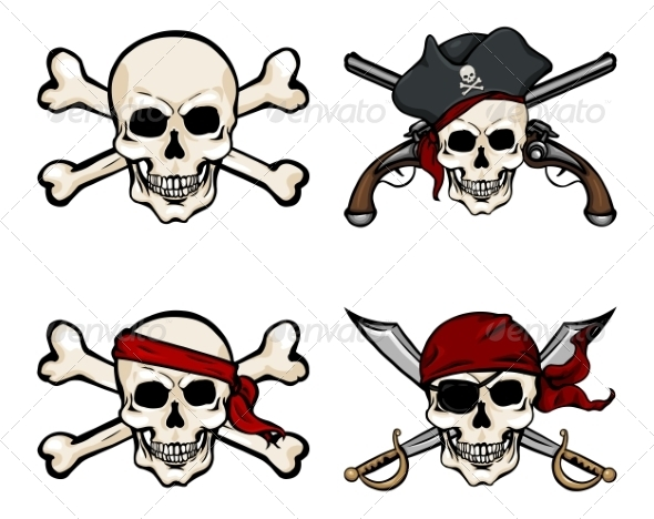 GraphicRiver Vector Set of Different Cartoon Pirate Skulls 8762539