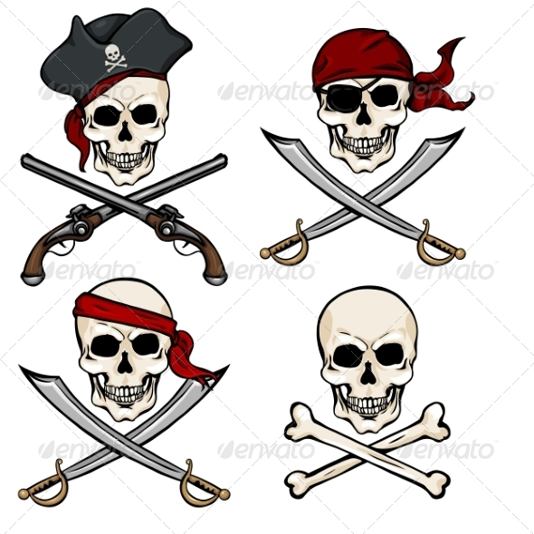 GraphicRiver Vector Set of Different Cartoon Pirate Skulls 8762540