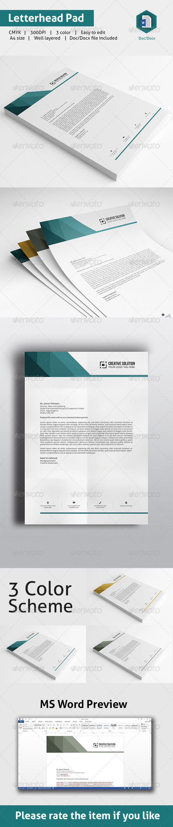GraphicRiver Letterhead Pad With MS Word 8756779