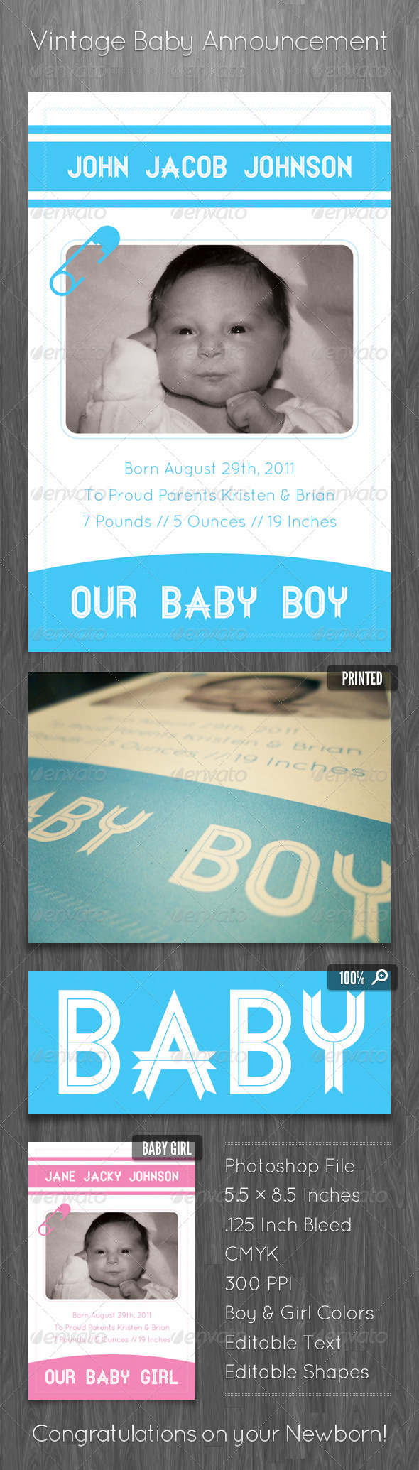 Vintage Baby Announcement Template - Family Cards & Invites