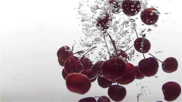 Cherry Dropping In Water