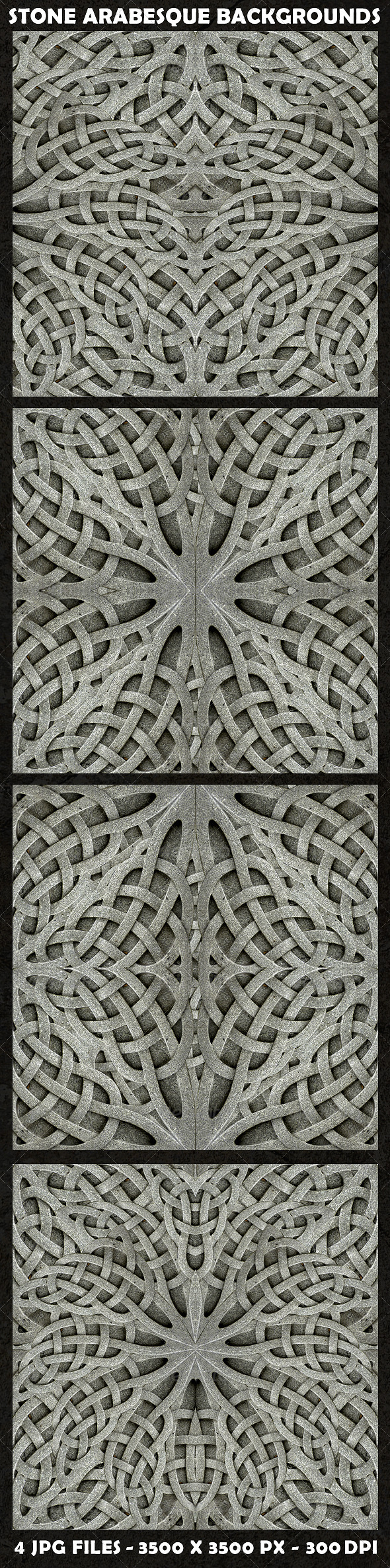 GraphicRiver 4 Stone Arabesque Background Pattern in Gray Tones 8763462