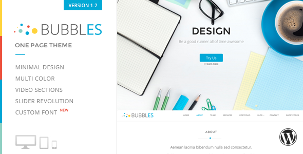 Bubbles Parallax One Page Wordpress Theme - Portfolio Creative