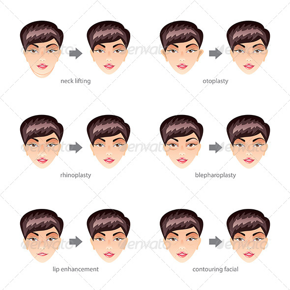 GraphicRiver Plastic Surgery on Face Vector Set 8765253