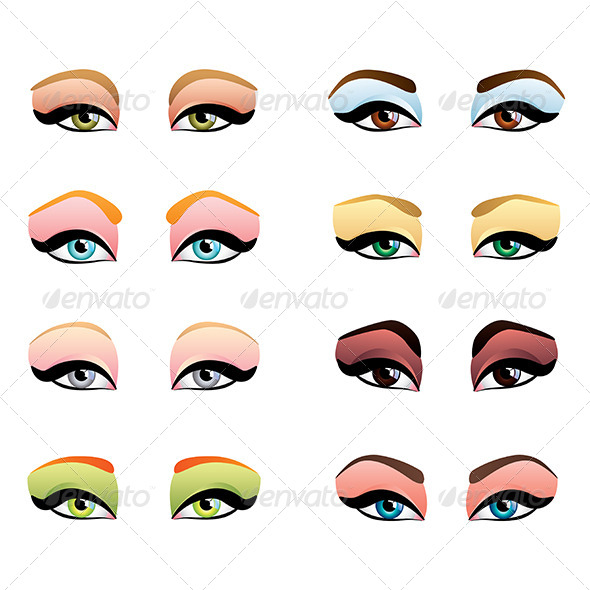 GraphicRiver Woman Eyes with Different Makeup 8765259