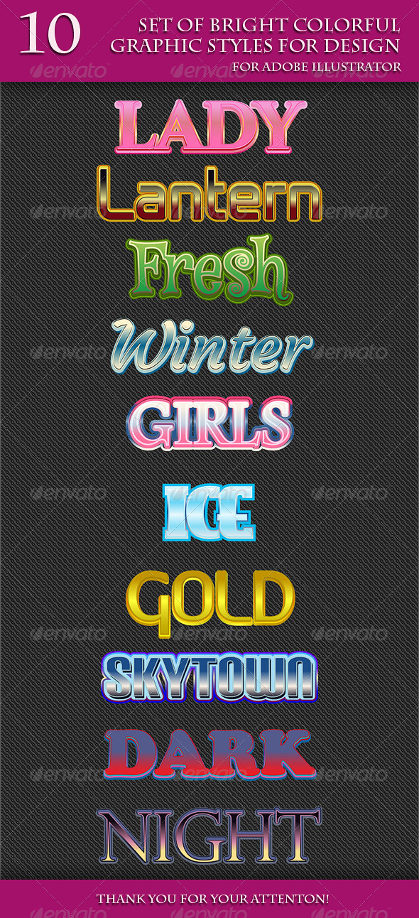 GraphicRiver Set of Bright Colorful Graphic Styles for Design 8766076