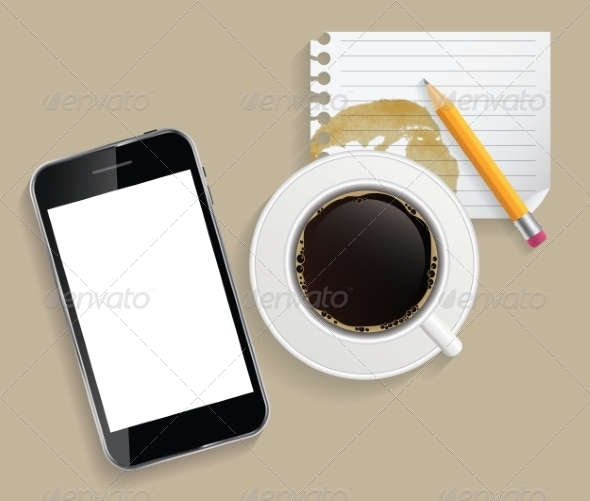 GraphicRiver Coffee Cup with Abstract Tablet 8766082