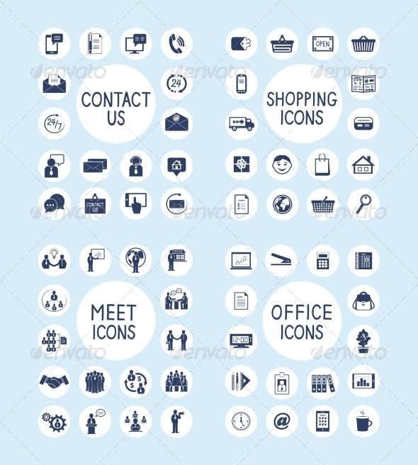 GraphicRiver Internet Business Office and Shopping Icons Set 8766523