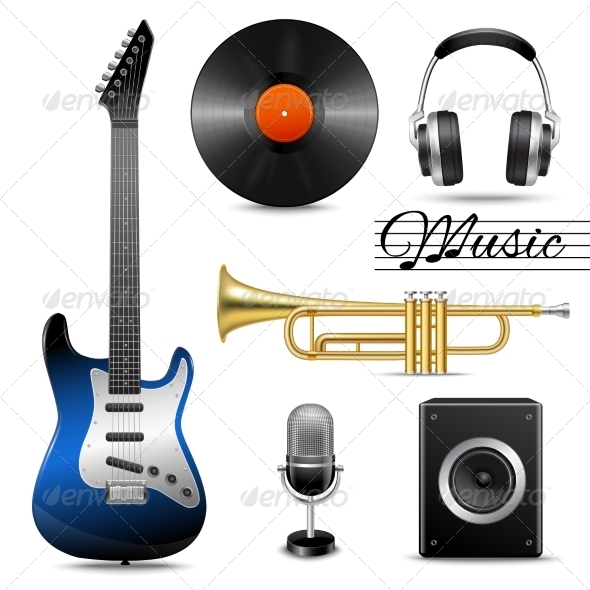 GraphicRiver Realistic Music Icons Set 8766527