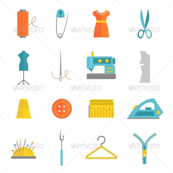 GraphicRiver Sewing Equipment Icons Set Flat 8766561